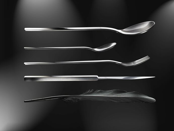 Mono A Edition Flatware goldplated, sterling silver, black, titanium